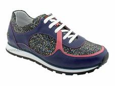 8250-2 Ортодон, кроссовки, фиолет, кожа, замша, шнурки
