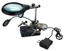 Лупа Kromatech настольная 2,5x/7,5x/10x, 34/90 мм, с держателем и подсветкой (5 LED) MG16129-С Kromatech (Кроматек)