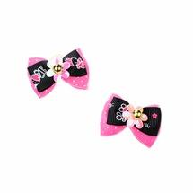 Petmax Бантик розово-черный с цветком 2шт