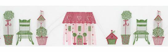 """Тесьма декоративная """"Летний дом"""", цвет: белый, зеленый, красный, розовый, 1 м х 50 мм. 35065"""