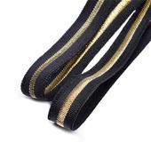 Лента эластичная, цвет черный с золотой полосой