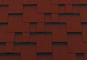 Гибкая битумная черепица RoofShield Модерн Premium Красный с оттенением