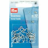 Крючки и петли для корсетов 13 мм 6 шт серебристый Prym 261550