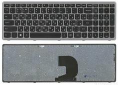 Клавиатура для ноутбука Lenovo IdeaPad Z500 черная с серой рамкой