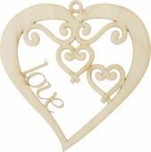"""Заготовка деревянная Decoriton """"Сердце резное №1"""", 10 х 10 х 0,3 см"""