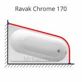 Карниз для ванны Ravak Chrome 170х105 (Равак Хром)