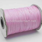 Шнур Вощеный, 1 мм, Полиэстер, Светло-Розовый, 1 м