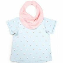 Happy Baby Футболка и нагрудный фартук для девочек Blue, размер 92
