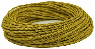 Ретро кабель витой электрический (50м) 2*0.75, шафран, ПРВ2075-ШФР Panorama