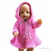 Одежда для куклы Baby Born - пальто Krispy Handmade розовое