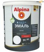Эмаль Alpina Аква эмаль, белая глянцевая 0,9 л/1,10 кг, акриловая водно-дисперсионная, шт.