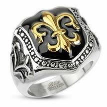 Кольцо печатка в виде щита с золотой королевской лилией Spikes