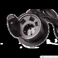 Лючок в стол на два кейстоуна + одна розетка со шнуром 1.8м, черный