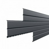 Сайдинг наружный металлический МеталлПрофиль Lбрус Серый графит 6м (Purman, 0,5мм, глянец.)
