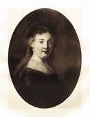 Гравюра Портрет улыбающейся Саскии. Рембрандт Харменс ван Рейн. Гелиогравюра 1899 год