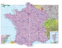 Административная карта Франции 70*40 см