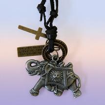 Подвески и шнурки Прочие производители Подвеска со слоником Удача и процветание (металл, кожаный шнурок)