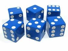 Кости игральные пластиковые, 12 мм, 1шт, цвет синий zar6 Partida