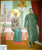 Матрона Московская и Сталин (рукописная икона). Серия: ИК, Размер (см): 40х50 (Иконы святых)