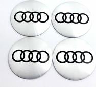 Наклейки на колесные диски Ауди серебро металл Mashinokom d 56mm