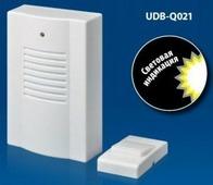 Volpe звонок беспроводной, 30м, 16 мелодий, индикатор, бел., блистер UDB-Q021 W-R1T1-16S-30M-WH