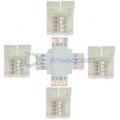 SC41UXESB Ecola LED strip connector комплект X гибкая соед. плата + 4 зажимных разъема 4-х конт. 10 mm