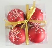 """Набор елочных шаров """"Хрустальная снежинка"""", 4 шт, 8 см, красные матов., (Miland)."""