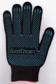 Перчатки трикотажные х/б с ПВХ точкой черные