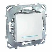Выключатели, переключатели Выключатель одноклавишный (сх.1), с индикацией,белый Schneider Electric