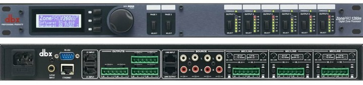 dbx 1260m аудио процессор для многозонных систем. 12 входов - 6 балансных мик/лин Phoenix, 4 RCA, S/PDIF, 6 балансных Phoenix выхода, управление - ЖК дисплей на лицевой панели, GUI интерфейс - с компьютера 2 порта для подключения контроллеров ZC (до 12 шт