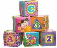Playgro Игрушка: Развивающие мягкие кубики для купания (розовые)