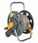 """Катушка для шланга Hozelock 2431 с возможностью крепления на стену + шланг 1/2"""" 25 м + коннекторы + наконечник для шланга, серый, желтый, красный"""