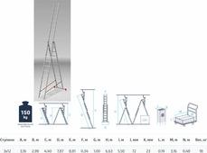 Startul Лестница алюм. 3-х секц. 299/787/316см 3х12 ступ., 18,0кг PRO (ST9942-12)