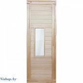 Дверь для бани деревянная 1700х700мм со стеклом.