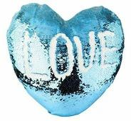 Наволочка с пайетками под сублимацию, в форме сердца 39x44 см, Светло-синий/Белый