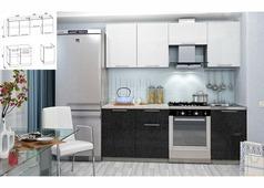 Кухня Олива белый, черный 2,1 м.