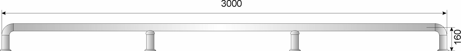 Отбойник для тележек нерж. сварной D50,8мм, h185мм, L3000мм, h оси трубы 160мм
