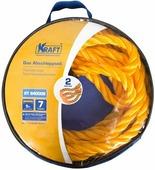 Трос буксировочный Kraft, канатный, желтый, 7 т, в сумке, 5 м
