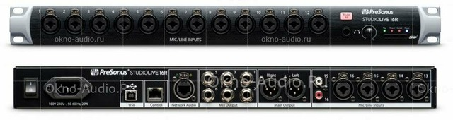 PreSonus StudioLive 16R цифровой микшер/стейджбокс 18 кан.+4 возврата, 18 аналоговых вх/8вых, 2FX, 6MIX, 2AUX FX, USB-audio, AVB-audio