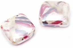 """Бусины """"Tesоro"""", керамические, цвет: белый, красный, коричневый, 20 х 20 х 5 мм, 2 шт"""