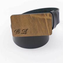 Ремень мужской кожаный для джинс гладкий, черный, с деревянной пряжкой из древесины Айвори