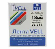 Лента Vell VL-241 (Brother TZE-241, 18 мм, черный на белом) для PT D450/D600/E300/2700/ P700/P750/E550/9700/P900/2430