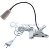 APF7FWEAY Ecola base Светильник прищепка с вилкой с выключателем - патрон E27 гибкиий 300мм Белый