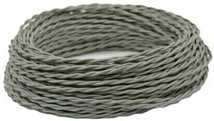 Ретро кабель витой электрический (50м) 2*1.5, серый, ПРВ2150-СЕР Panorama