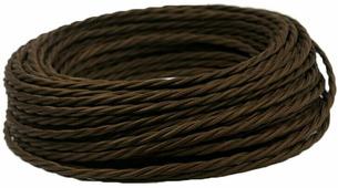Ретро кабель витой электрический (50м) 2*0.75, шоколад, ПРВ2075-ШКД Panorama