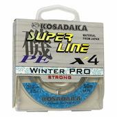 Леска плетеная зимняя Kosadaka Super Line PE X4 Winter Pro, прозрачная, 50 м., 0.18 мм.