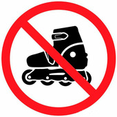 """Наклейка запрещающий знак Rexant """"На роликах не заходить"""" 150х150 мм {56-0019}"""