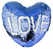 Наволочка с пайетками под сублимацию, в форме сердца 39x44 см, Темно-синий/Белый