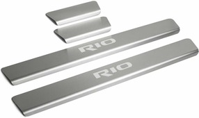 Накладки на пороги Rival для Kia Rio IV седан, хэтчбек X-Line 2017-н.в., нерж. сталь, с надписью, 4 шт. KIRI.2809.1G