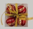 """Набор елочных шаров """"Новогодние узоры"""", 4 шт, 6 см, красные матов., (Miland)"""